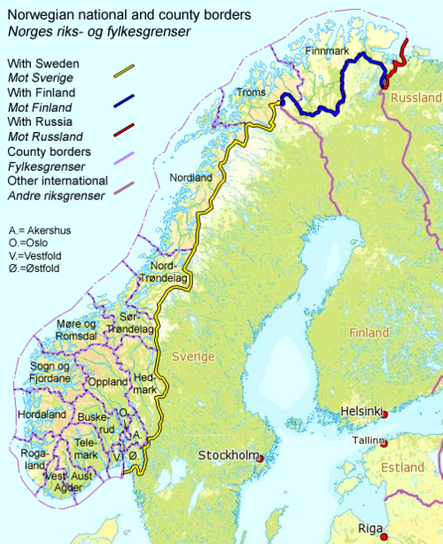 Zemlejvid Norveške z državnimi in regijskimi mejami https://commons.wikimedia.org/wiki/File:Norway_Borders.png